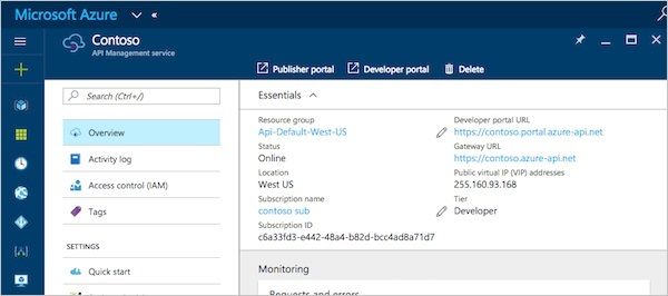API Management Service Detailed Information on Azure Portal