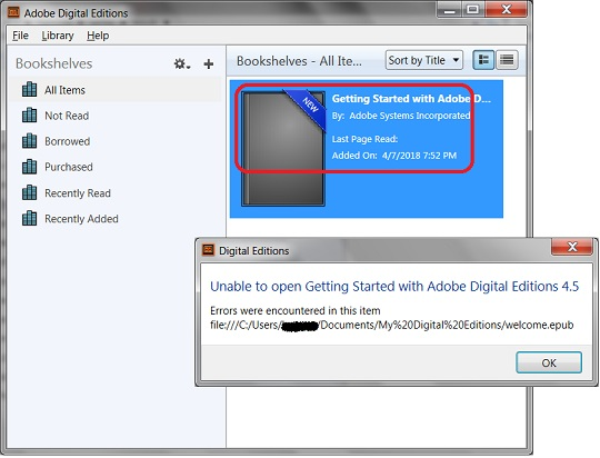 Adobe Digital Editions Failed to Open EPUB Files