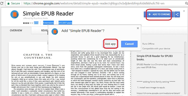 Install Simple EPUB Reader as Chrome Extension