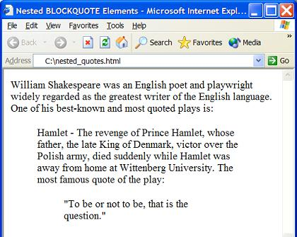 HTML blockquote Element - Nested Quote Blocks