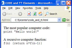 HTML code and tt Elements - Source Code and Teletype Text