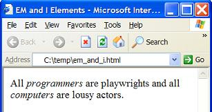 HTML em and i ELements - Emphasis and Italic Text