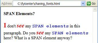 HTML span Element Used to Change Text Font
