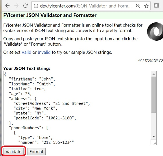 JSON Validation: fyicenter.com