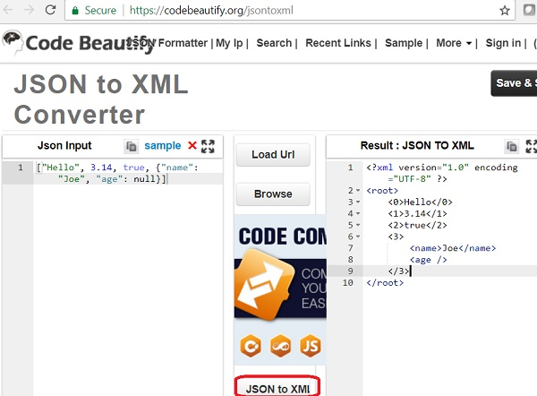 JSON to XML Conversion: codebeautify.com