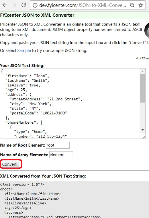 JSON to XML Conversion: fyicenter.com