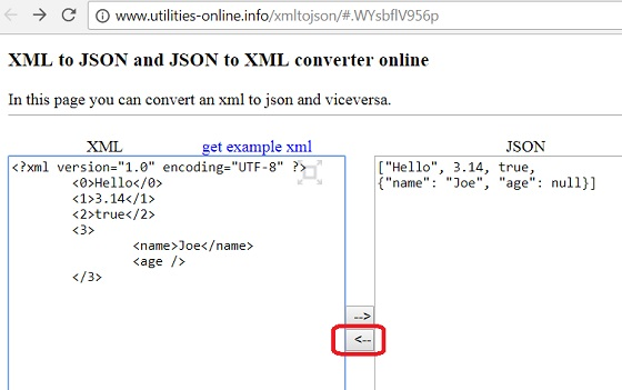 JSON to XML Conversion: utilities-online.info