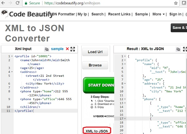 XML to JSON Conversion: codebeautify.com