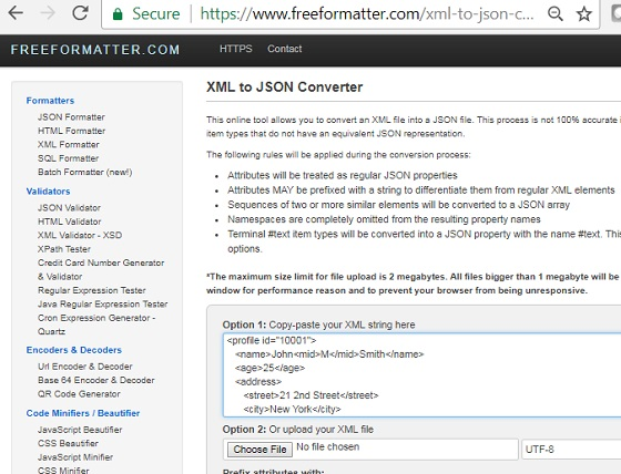 XML to JSON Conversion: freeformatter.com
