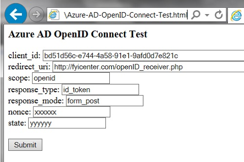 Azure AD - OpenID Connect Test Page