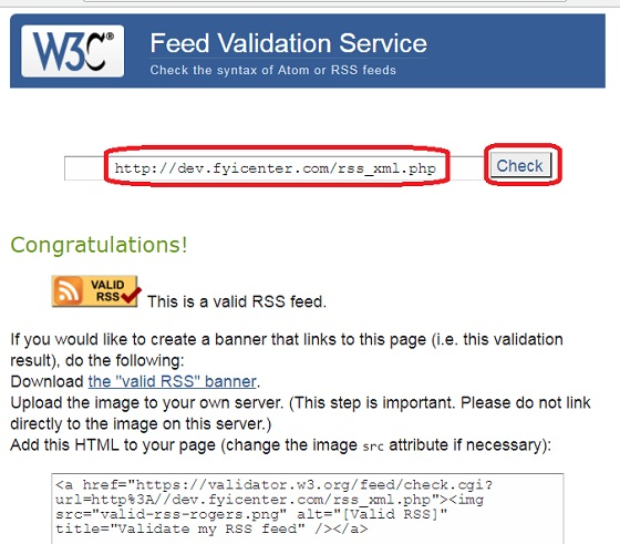 RSS Online Validator at w3.org
