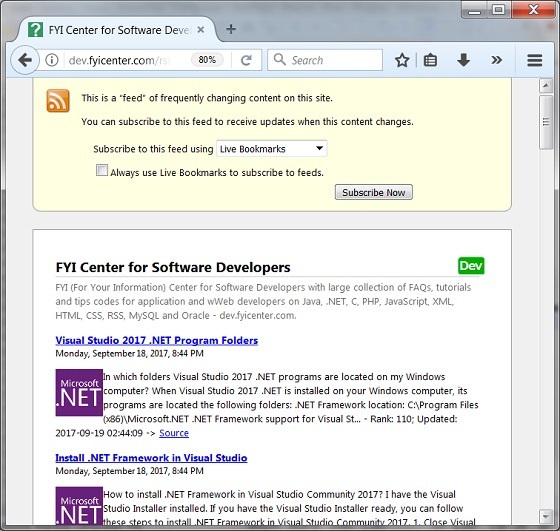 View RSS Feeds with Mozilla Firefox