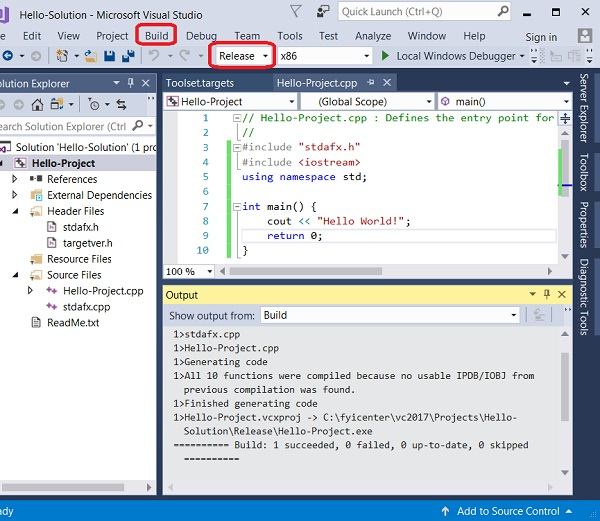 Application Release Build with Visual Studio 2017
