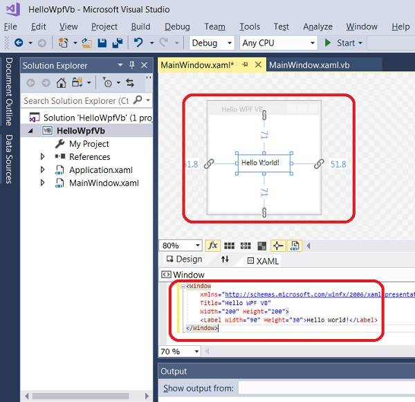Build WPF App with VB and XAML in Visual Studio 2017