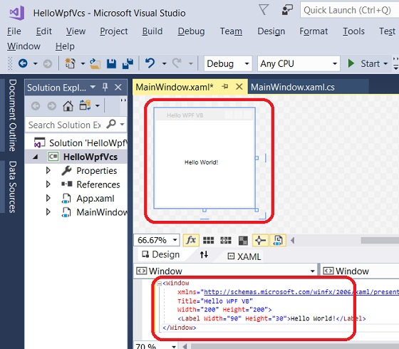 Build WPF App with VC# and XAML in Visual Studio 2017