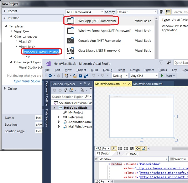 Create Visual Basic Project in Visual Studio 2017
