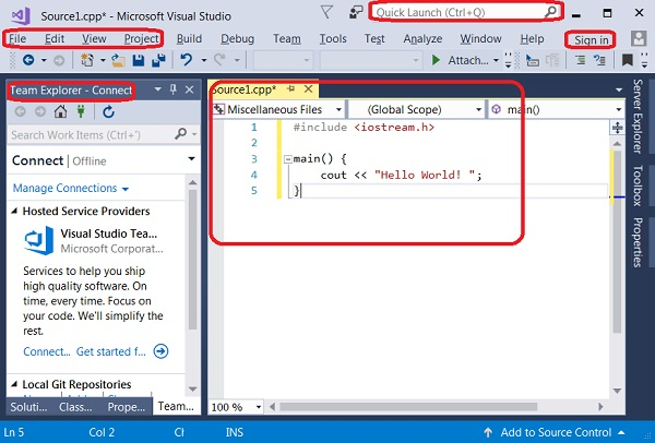 Main Features on Visual Studio 2017 Start Page