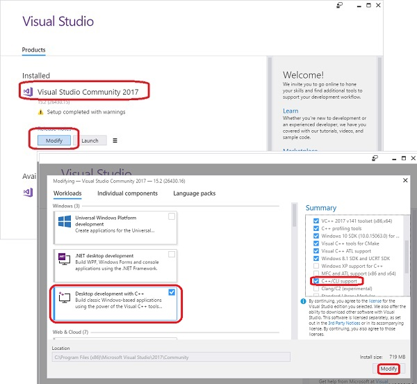 Install C++/CLI Support with Visual Studio Installer
