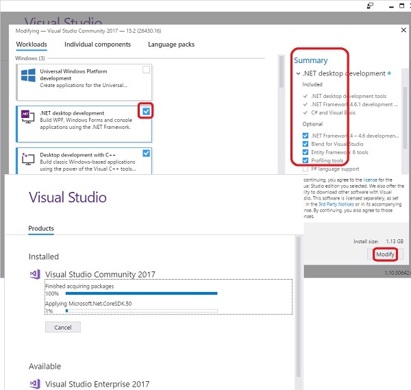 Install Visual Studio Community 2017 for .NET
