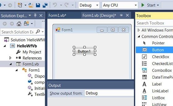 Build Windows Forms App with VB Code in Visual Studio 2017
