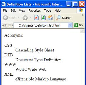 Definition list html inline for Lits definition