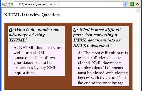 Xhtml tutorial floating div elements - Div tag properties ...